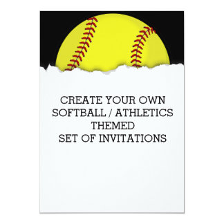 ソフトボールの試合のテーマの招待状を作成して下さい 12.7 X 17.8 インビテーションカード