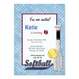 ソフトボールの誕生日の招待状 12.7 X 17.8 インビテーションカード