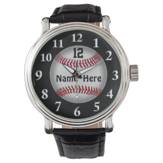 ソフトボールの野球の腕時計、あなたの名前および数 腕時計