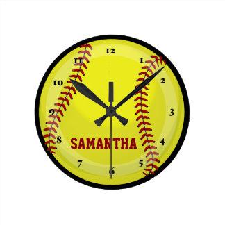 ソフトボールファン ラウンド壁時計