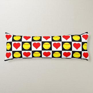 ソフトボール及びハートチェック模様のパターン抱き枕 ボディピロー