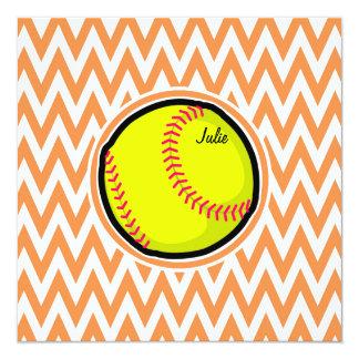 ソフトボール;|オレンジ|白い|シェブロン 13.3 スクエアインビテーションカード