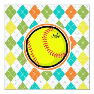 ソフトボール|カラフル|アーガイル|パターン オリジナル案内状