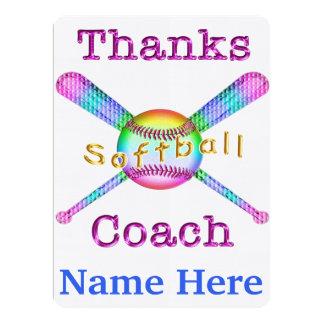 ソフトボール|コーチ|ギフト|名前入り|感謝していして下さい||カード 16.5 X 22.2 インビテーションカード
