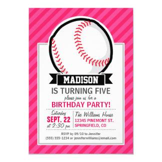 ソフトボール|ピンク|縞で飾ります 12.7 X 17.8 インビテーションカード