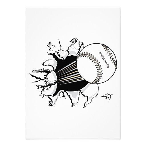 ソフトボール|引き裂くこと|によって|速い|球|グラフィック パーソナル案内状