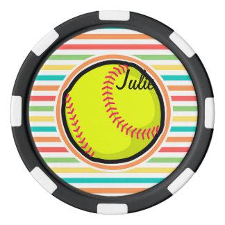 ソフトボール; 明るい虹は縞で飾ります ポーカーチップセット