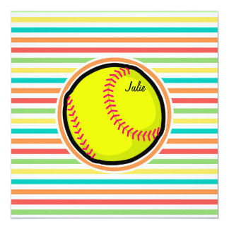 ソフトボール;|明るい|虹|縞で飾ります 13.3 スクエアインビテーションカード