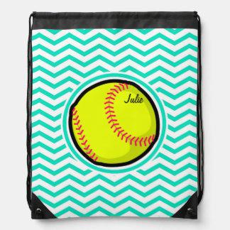 ソフトボール; 水緑のシェブロン ナップサック