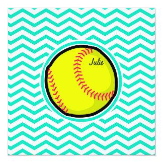 ソフトボール; 水緑のシェブロン 13.3 スクエアインビテーションカード