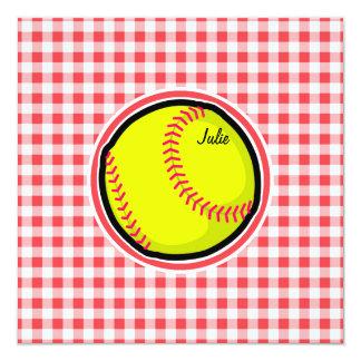 ソフトボール;|赤い|白い|ギンガム 13.3 スクエアインビテーションカード