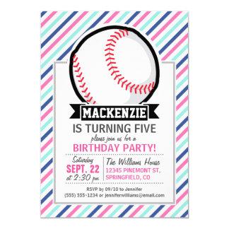 ソフトボール;|青、|ピンク、|及び|白い|縞で飾ります、|スポーツ 12.7 X 17.8 インビテーションカード