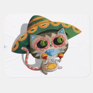 ソンブレロを持つメキシコ猫 ベビー ブランケット