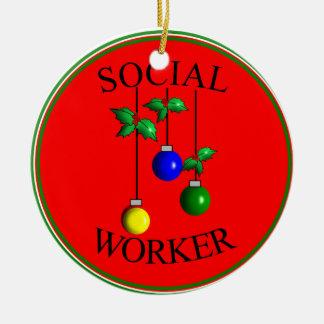 ソーシャルワーカーのクリスマスのオーナメント セラミックオーナメント