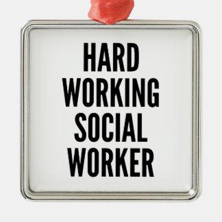 ソーシャルワーカーを働かせる懸命 メタルオーナメント