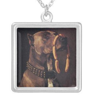 ソーセージを持つ犬 シルバープレートネックレス