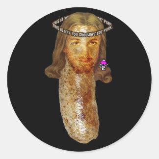 ソーセージイエス・キリスト 丸形シール・ステッカー
