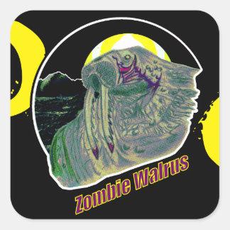 ゾンビのセイウチの黄色か紫色 スクエアシール