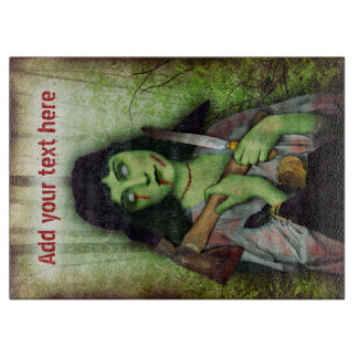 ゾンビの女の子のハロウィンのゴシック様式恐怖 カッティングボード