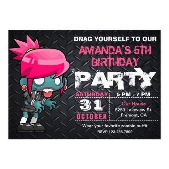 ゾンビの女の子のハロウィンの衣裳の誕生日の招待状 12.7 X 17.8 インビテーションカード