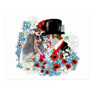 ゾンビの新郎新婦の結婚式の婚約 ポストカード