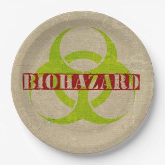 ゾンビの生物学的災害[有害物質]のハローウィンパーティの紙皿 ペーパープレート ラージ