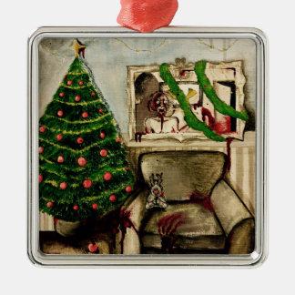 ゾンビの装飾とのクリスマス メタルオーナメント