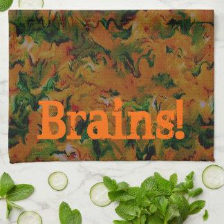 ゾンビの頭脳のハロウィンの台所タオル キッチンタオル