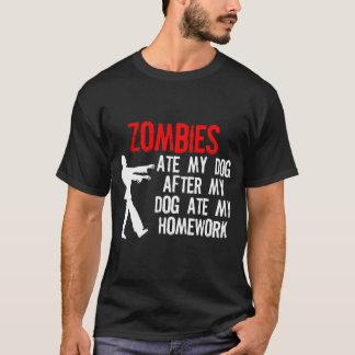 ゾンビは私の宿題および私の犬を食べました Tシャツ