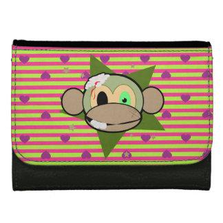 ゾンビ猿のハート及びストライプの財布 ウォレット