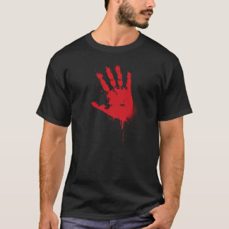 ゾンビ血手のプリント(ゾンビと完了して下さい) Tシャツ