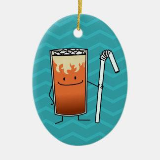 タイの凍らされた茶及び曲げやすいわらの幸せな飲み物タイ セラミックオーナメント