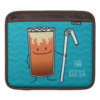 タイの凍らされた茶及び曲げやすいわらの幸せな飲み物タイ iPadスリーブ