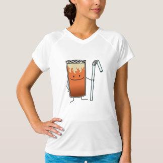 タイの凍らされた茶及び曲げやすいわらの幸せな飲み物タイ Tシャツ