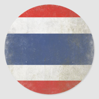 タイの動揺してな旗が付いている円形のステッカー ラウンドシール