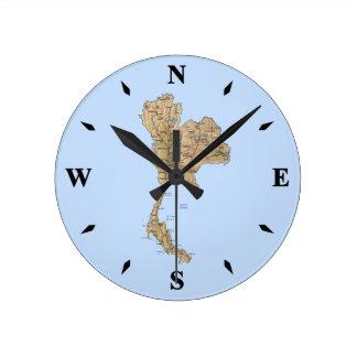 タイの地図の時計 ラウンド壁時計