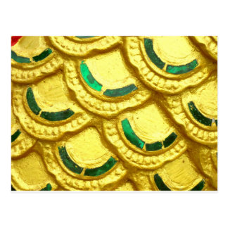 タイの寺院からの華美な金ゴールドのタイル ポストカード