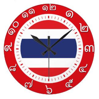 タイの旗の時計(タイ数字の数) ラージ壁時計