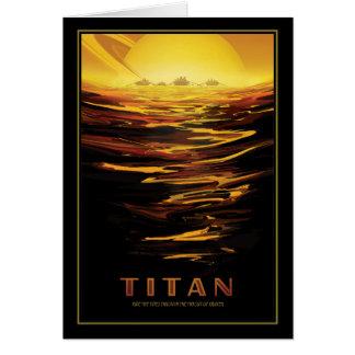 タイタン-土星の湖によって--を覆われる月発見して下さい カード