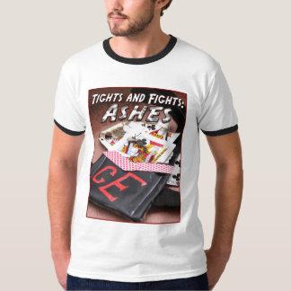 タイツおよび戦い-灰色か黒い燃やされたEuchreカード Tシャツ