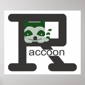 タイプされたアライグマおよびかわいい緑のアライグマ ポスター