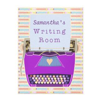 タイプライターの執筆部屋の作家の名前をカスタムするの紫色 キャンバスプリント