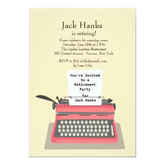タイプライターの退職のパーティの招待状 カード