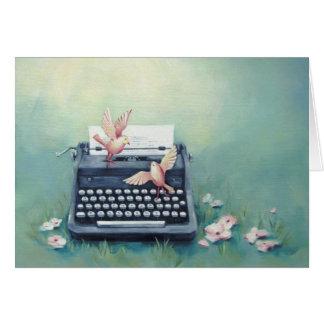 タイプライター及び鳥のお洒落な芸術カード カード