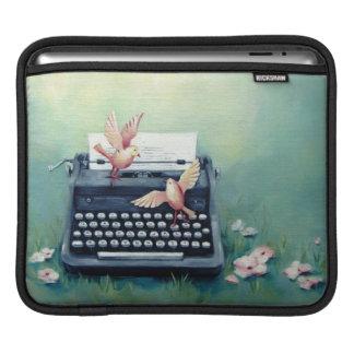 タイプライター及び鳥のティール(緑がかった色)の緑のIpadの袖 iPadスリーブ
