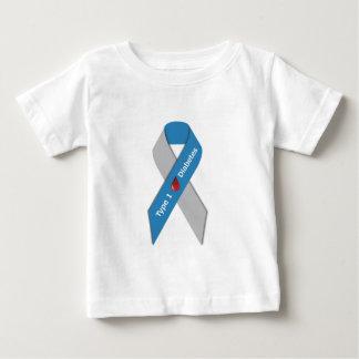 タイプ1の糖尿病の認識度のリボン ベビーTシャツ