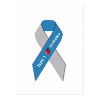 タイプ1の糖尿病の認識度のリボン ポストカード