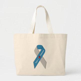 タイプ1の糖尿病の認識度のリボン ラージトートバッグ