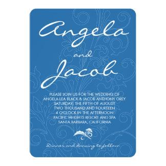 タイポグラフィのプールの孔雀青の花の結婚式 カード
