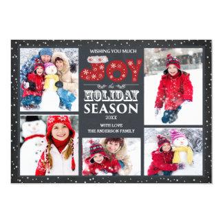 タイポグラフィの喜び5の写真のクリスマスの休日カード カード
